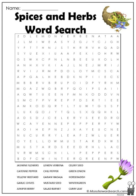 Spices and Herbs Word Search