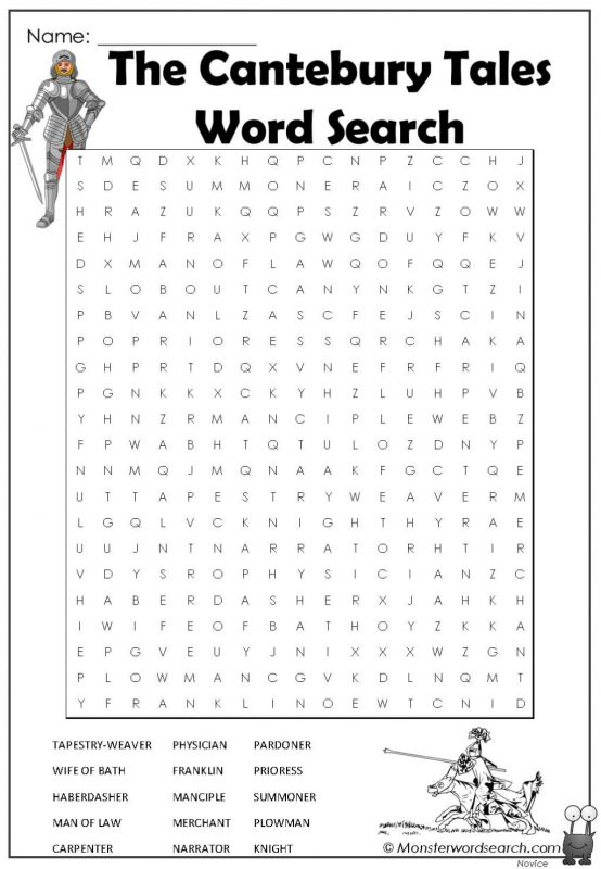 The Cantebury Tales Word Search