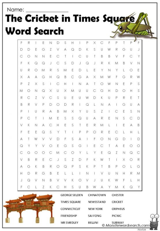 The Cricket in Times Square Word Search