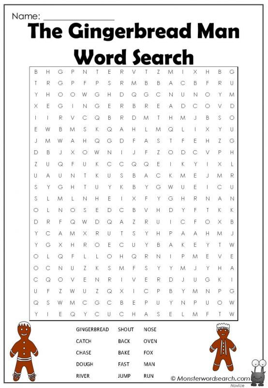 The Gingerbread Man Word Search