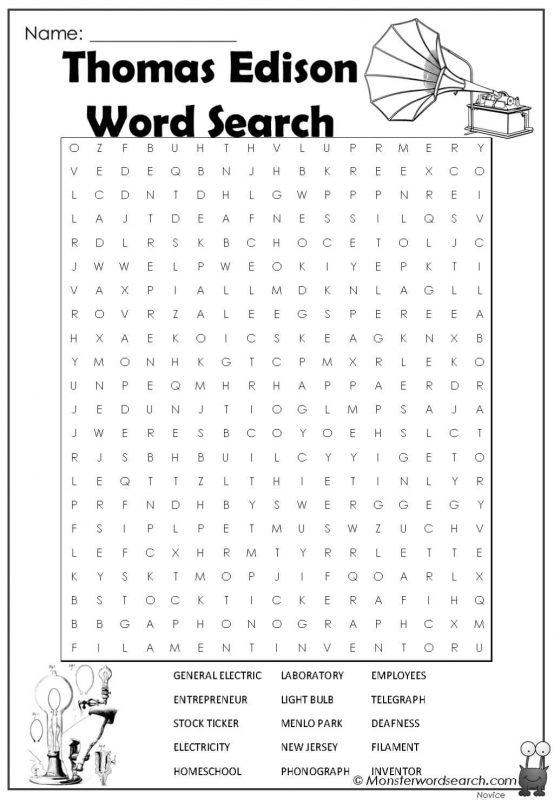 Thomas Edison Word Search