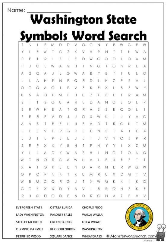 Washington State Symbols Word Search