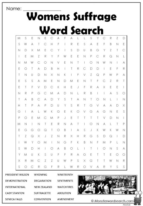 Womens Suffrage Word Search