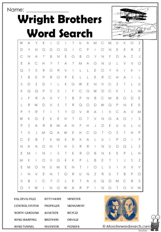 Wright Brothers Word Search