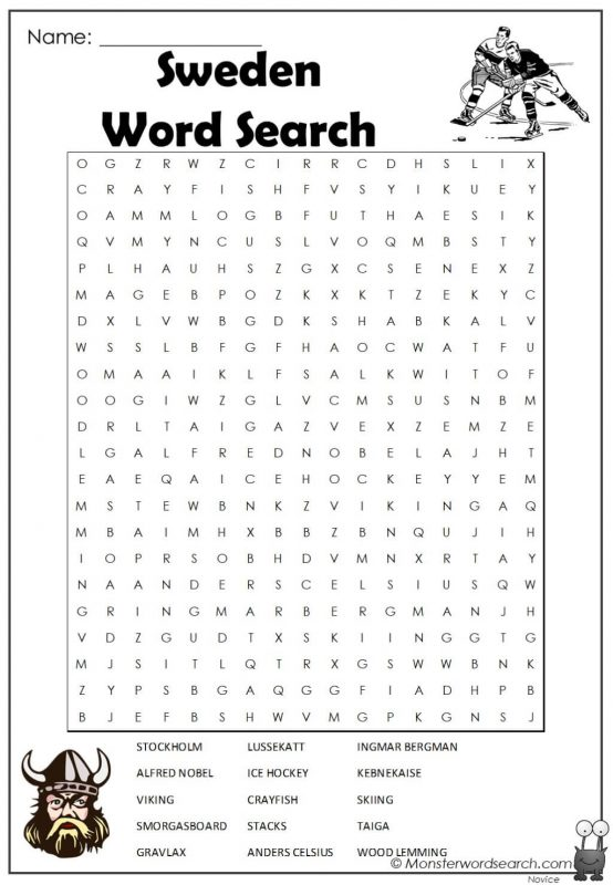 Sweden Word Search