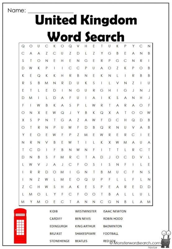 United Kingdom Word Search