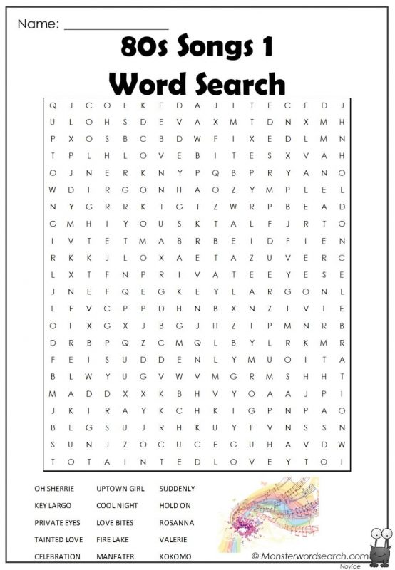 80s Songs 1  Word Search