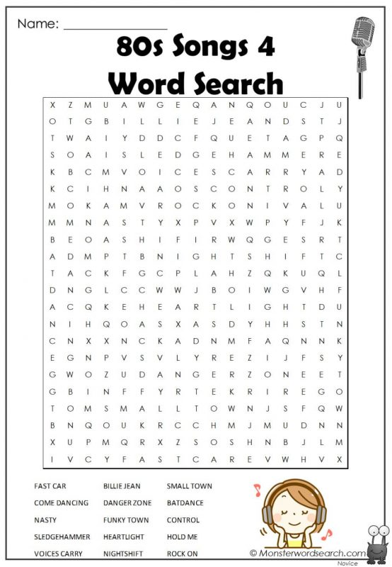 80s Songs 4  Word Search