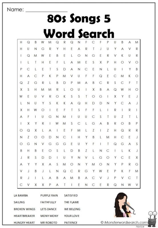 80s Songs 5  Word Search