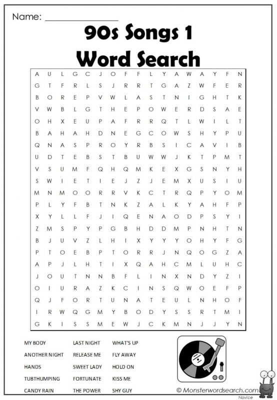 90s Songs 1 Word Search