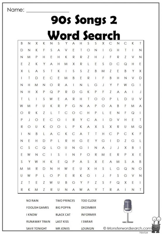 90s Songs 2 Word Search