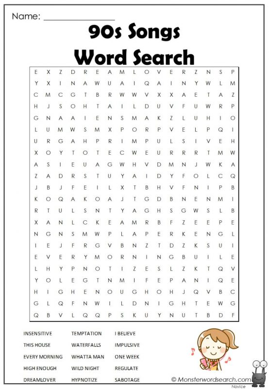 90s Songs Word Search