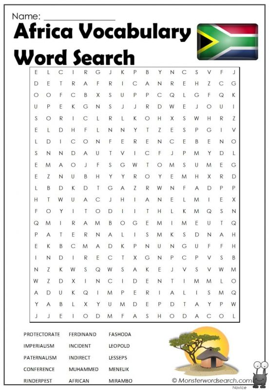 Africa Vocabulary Word Search