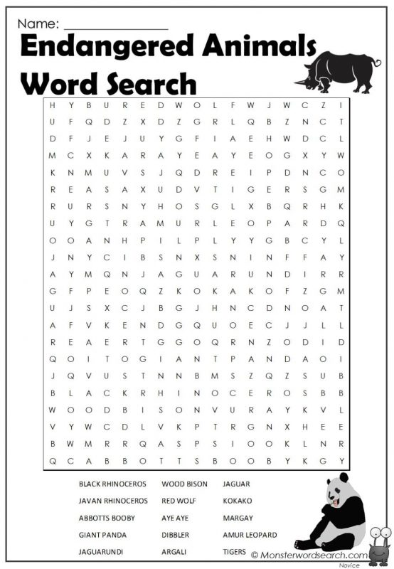 Endangered Animals Word Search